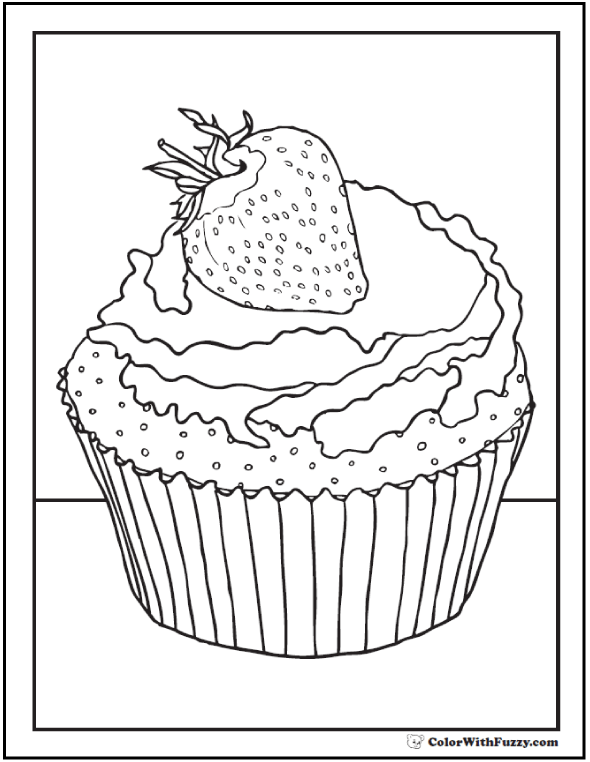 Strawberry Cupcake Coloring Sheet
