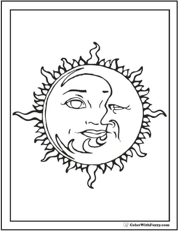 Joined sun moon coloring page