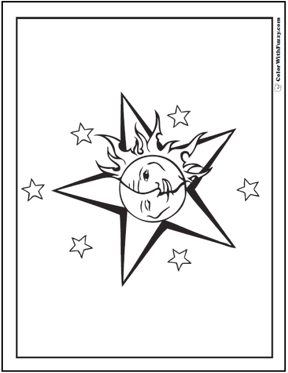 Sun Moon Stars Coloring