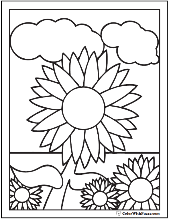 Sunflower Coloring Sheets For Kids - Clouds and background.