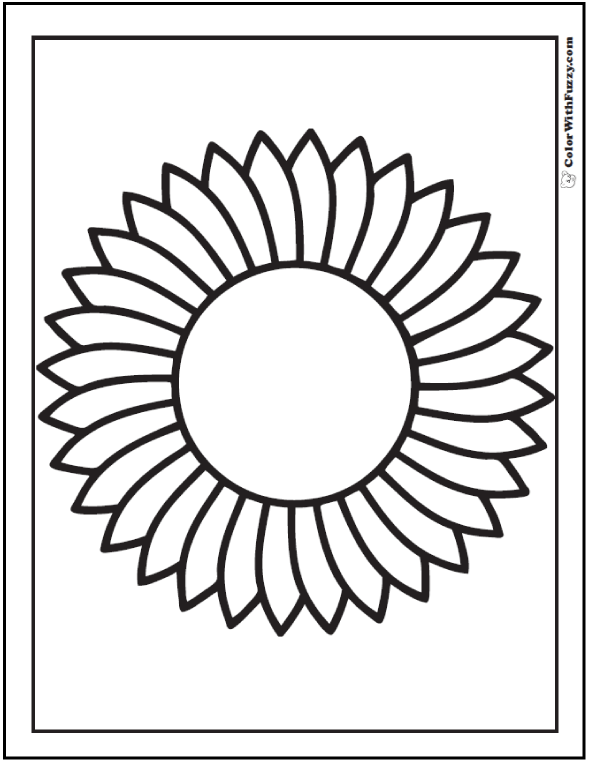 Preschool Sunflower Coloring Sheet