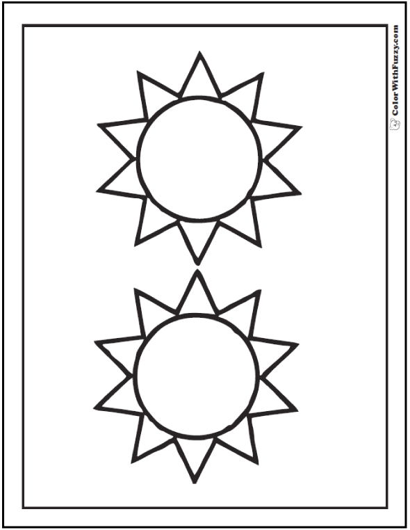 Sunshine Shapes Coloring Sheet