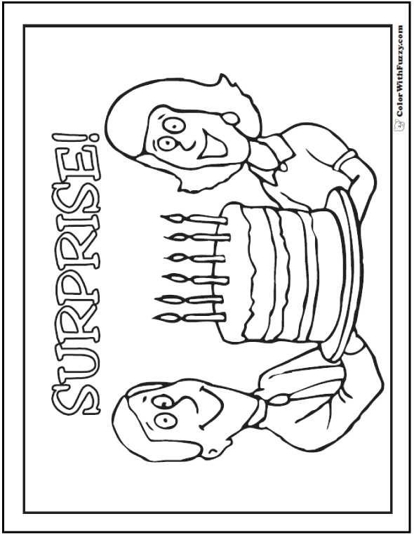 Surprise Birthday Coloring Picture