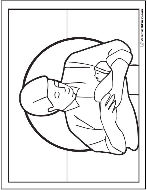Sweet Father's Day Coloring Page: Dad with baby.  #FathersDayColoringPages and #KidsColoringPages at ColorWithFuzzy.com