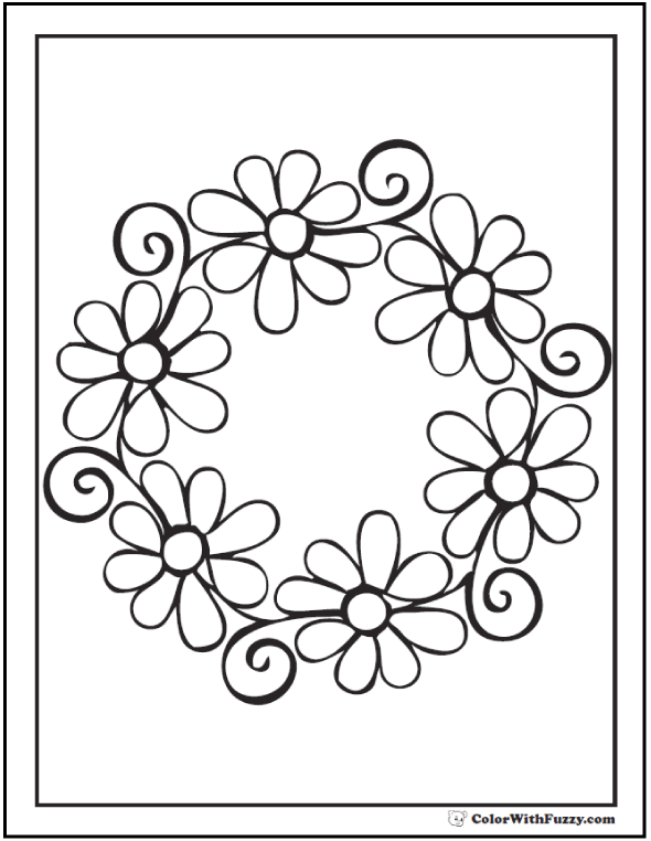 Swirl Garland Daisy Coloring Page