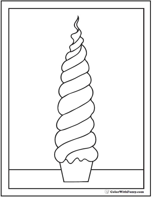 Swirled Tall Cupcake To Color