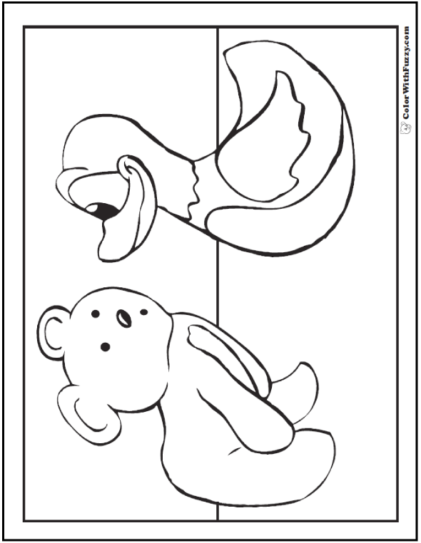 Teddy Bear And Duckie Coloring Page