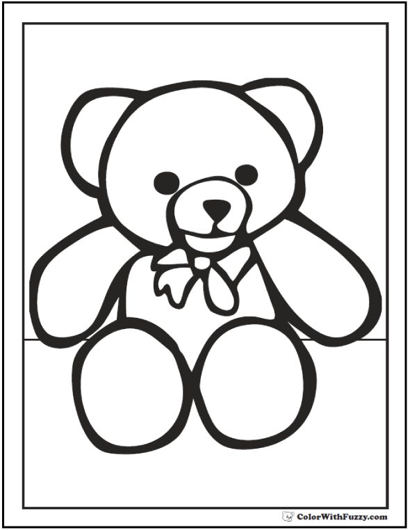 Teddy Bear With Bow Picture To Color