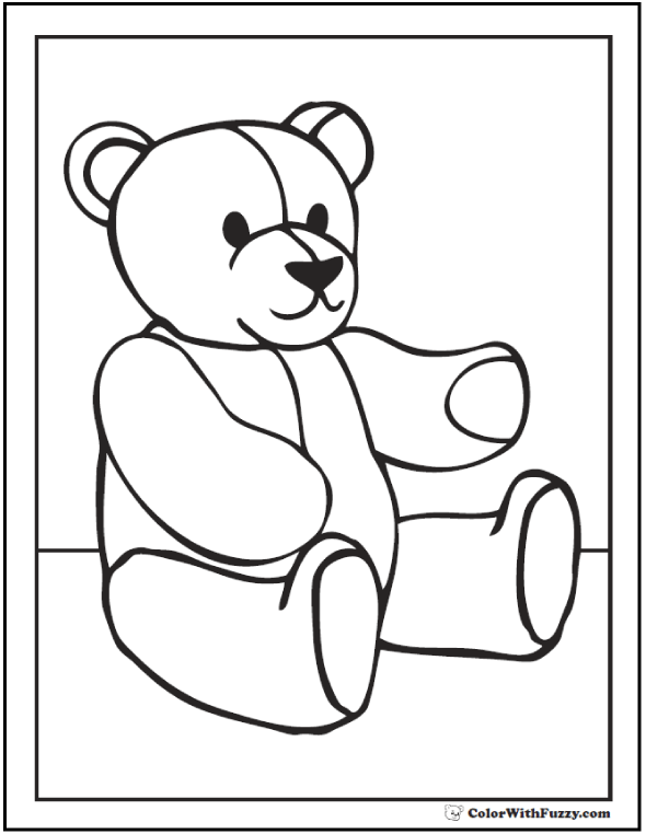 Classic Teddy Bear Page To Color