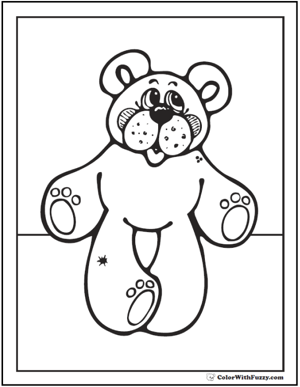 Open Arms Teddy Bear Coloring Picture