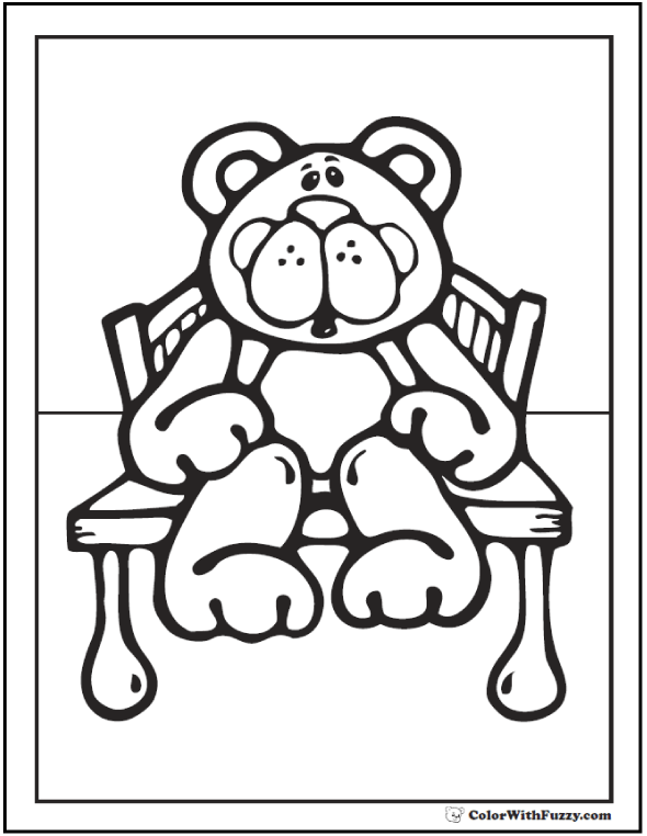 Sweet Teddy Bear Sitting On A Bench Coloring Pictures.