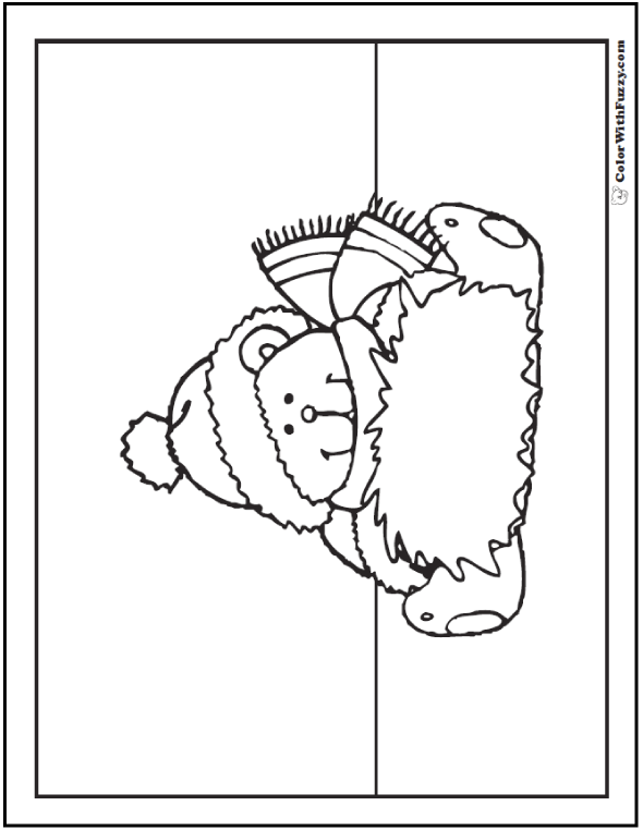 Teddy Bear Coloring Sheet With Message Muff