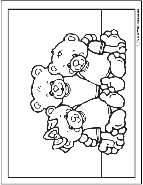 Teddy Bear Family Coloring Sheet
