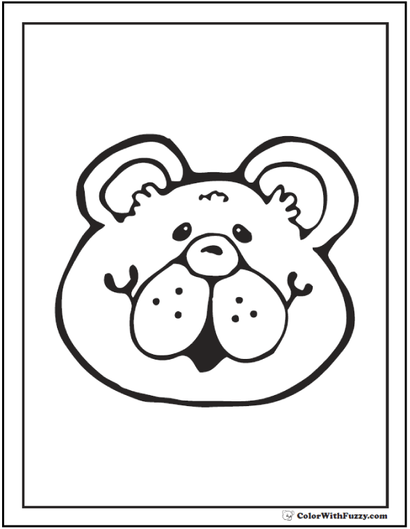 Teddy bear coloring pages for fun for Bear head coloring page