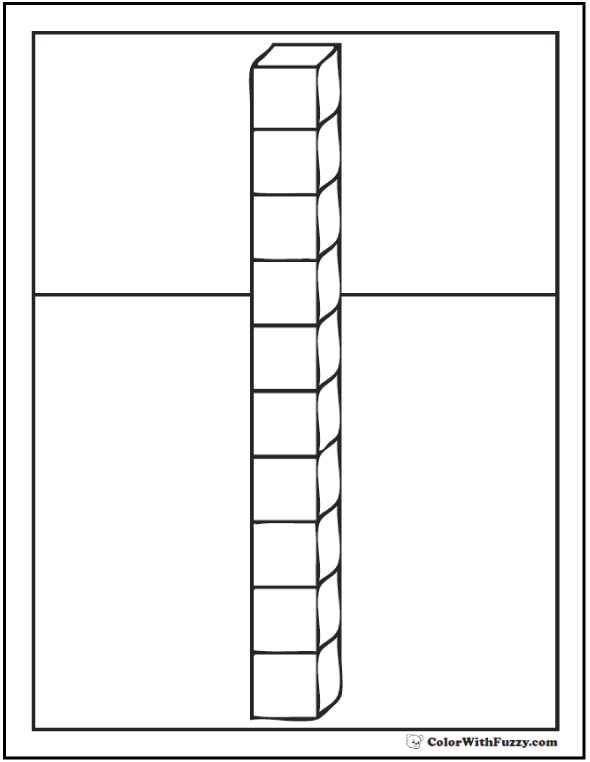Ten Cubes Coloring Page