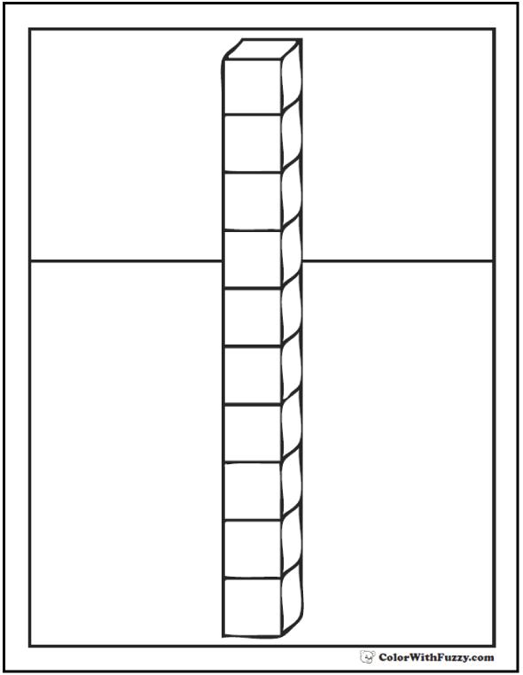 Ten Cubes Coloring Page
