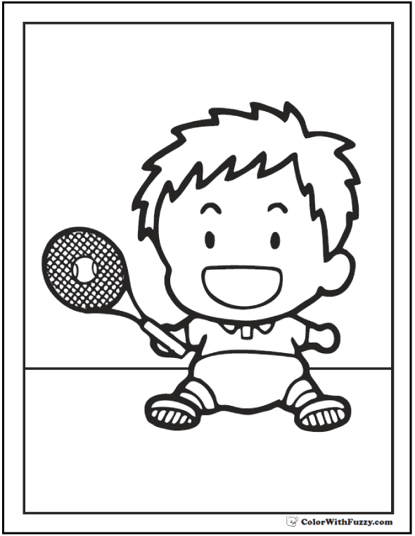 Tennis For Kids Coloring.