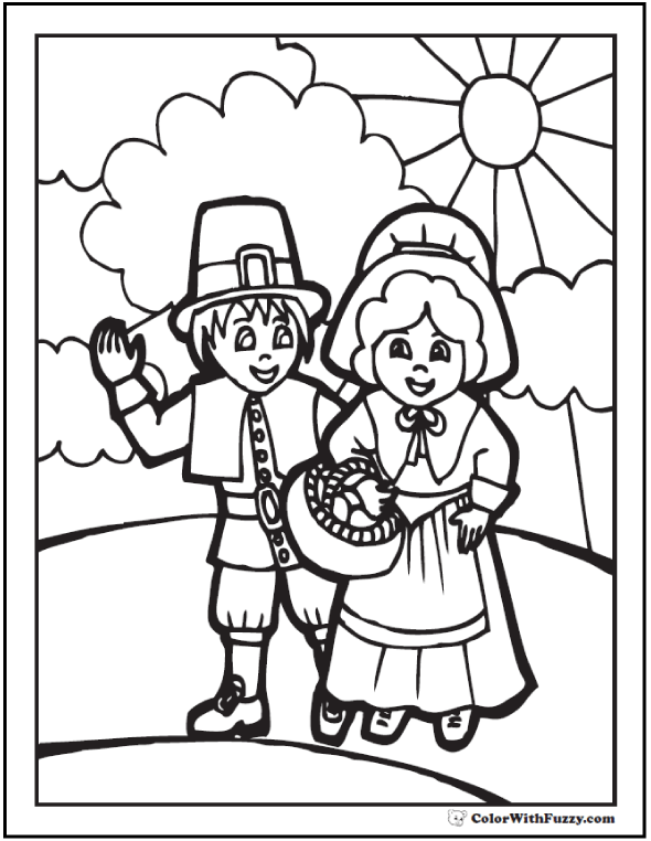 Thanksgiving Coloring Page: Pilgrims And Sunshine