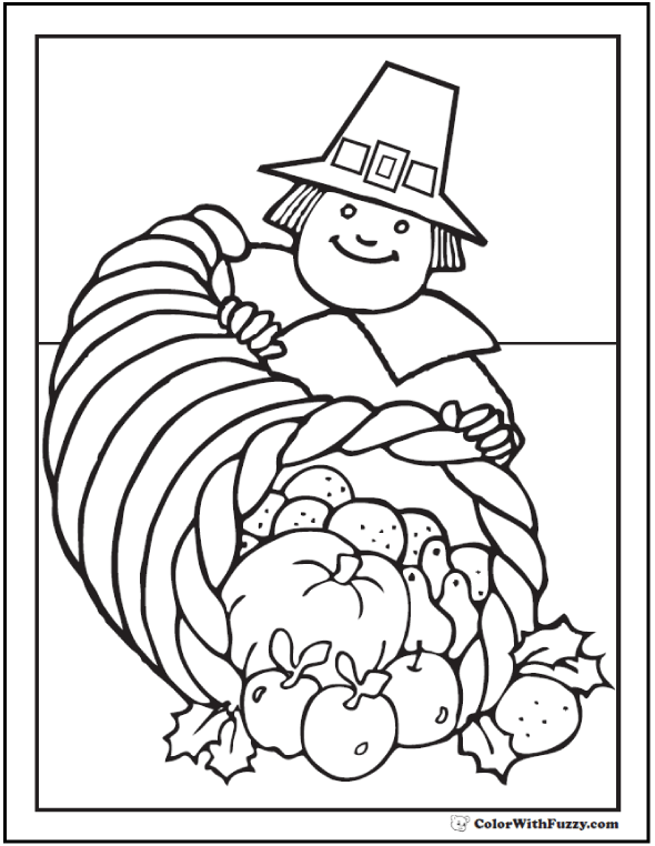 Thanksgiving Coloring Pages Pilgrim With Cornucopia And Fruit