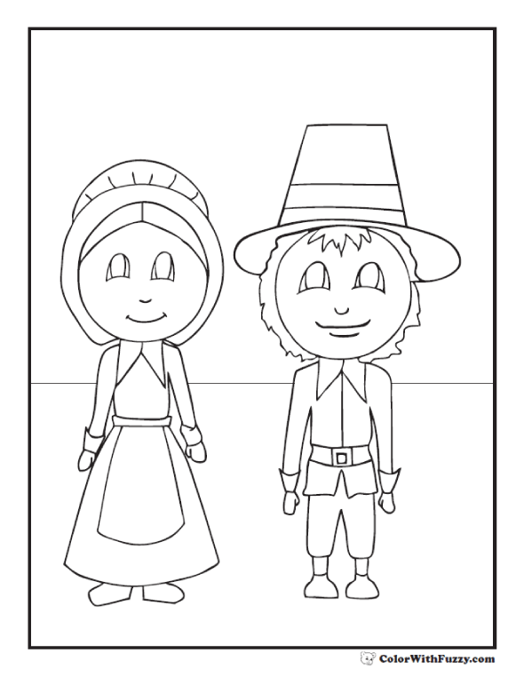 Cute Thanksgiving Coloring Pages Pilgrims
