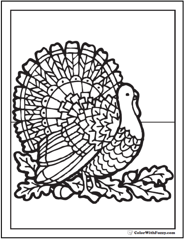Thanksgiving Coloring Page: Turkey, Acorns, Oak Leaves