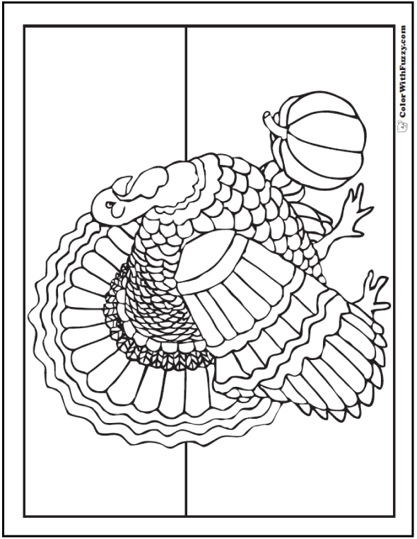 Thanksgiving Coloring Page: Turkey And Pumpkin