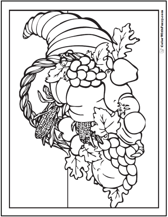 Thanksgiving cornucopia coloring sheet: fall harvest