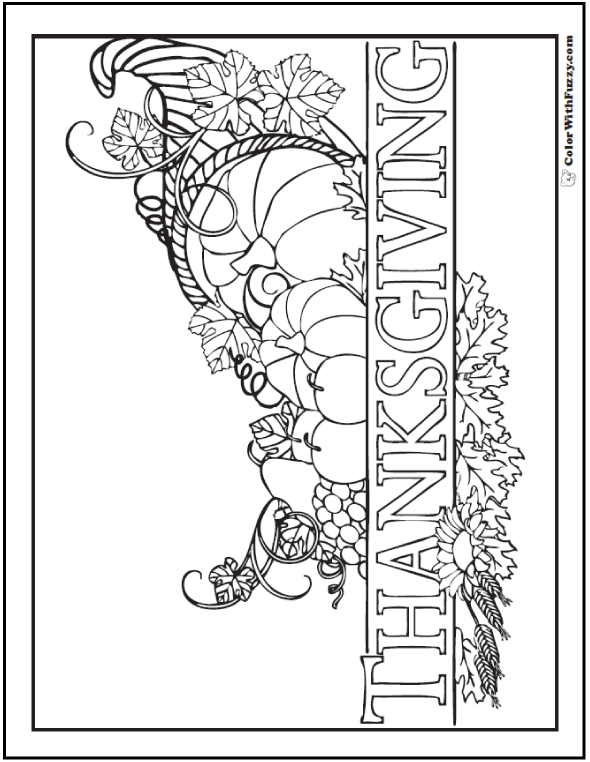 Thanksgiving cornucopia coloring page with details and the word printed like a banner. Happy Thanksgiving Day!