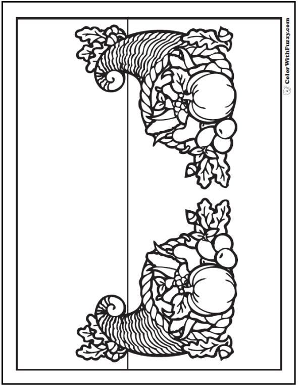 Two Thanksgiving Cornucopias To Color