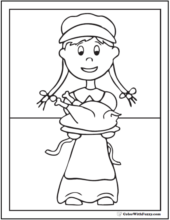 Thanksgiving pilgrim coloring picture and turkey dinner.