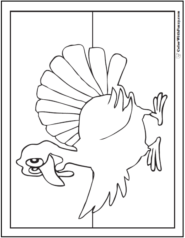 Fun Thanksgiving Turkey Coloring Pages: Turkey pointing away.