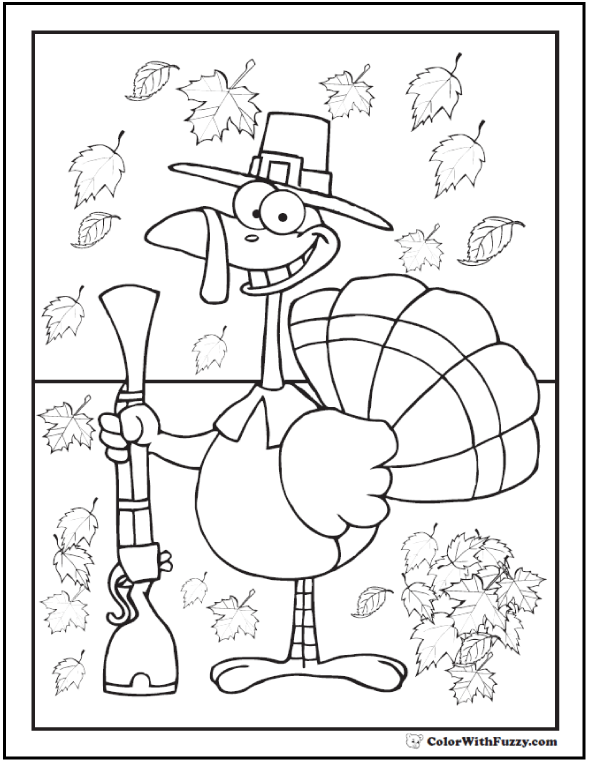 Thanksgiving Turkey Coloring: Fall Leaves and Pilgrim Hat, Turkey in disguise.