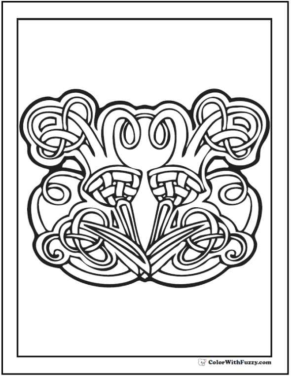 ColorWithFuzzy.com Celtic Coloring Pages: Scotch and Celtic Thistle Coloring Page