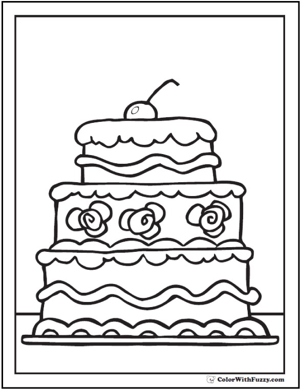 Three layer cake coloring picture.