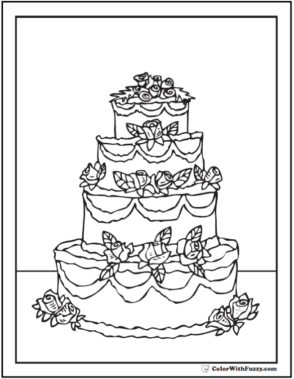 Three Tiered Cake Coloring Sheet