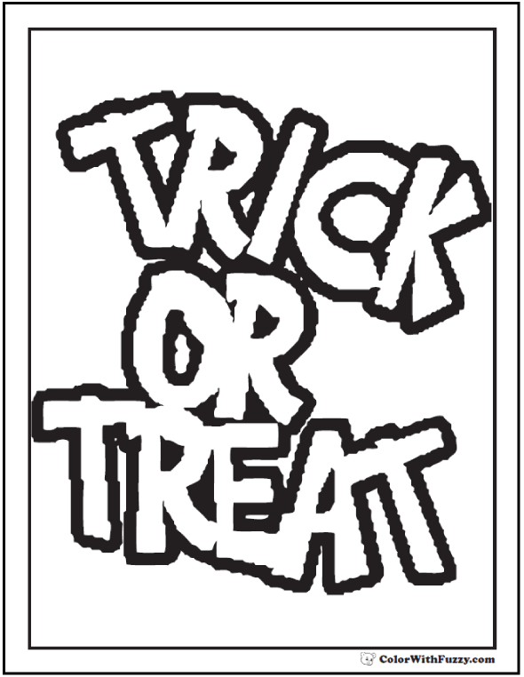 Halloween coloring pages: Trick Or Treat Coloring Banner