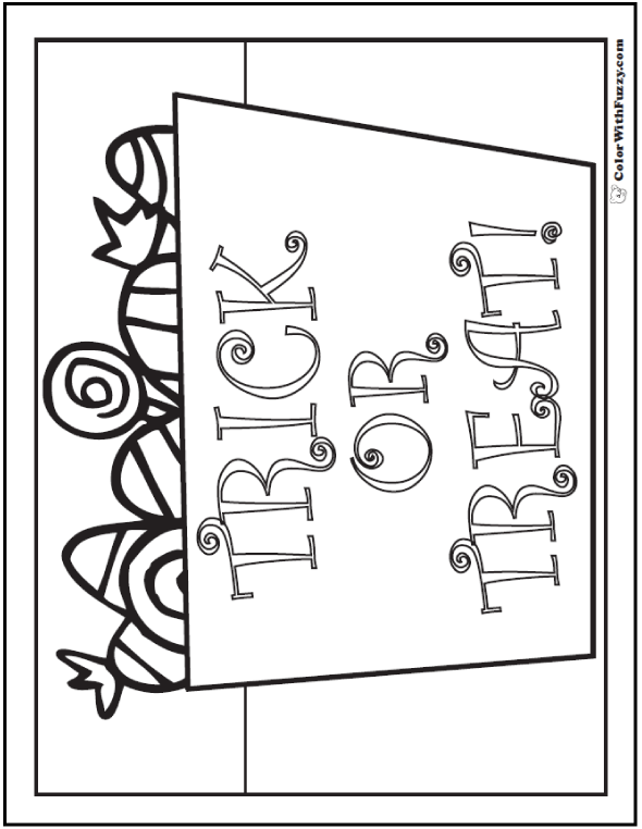 Halloween coloring pages: Trick Or Treat Coloring Picture