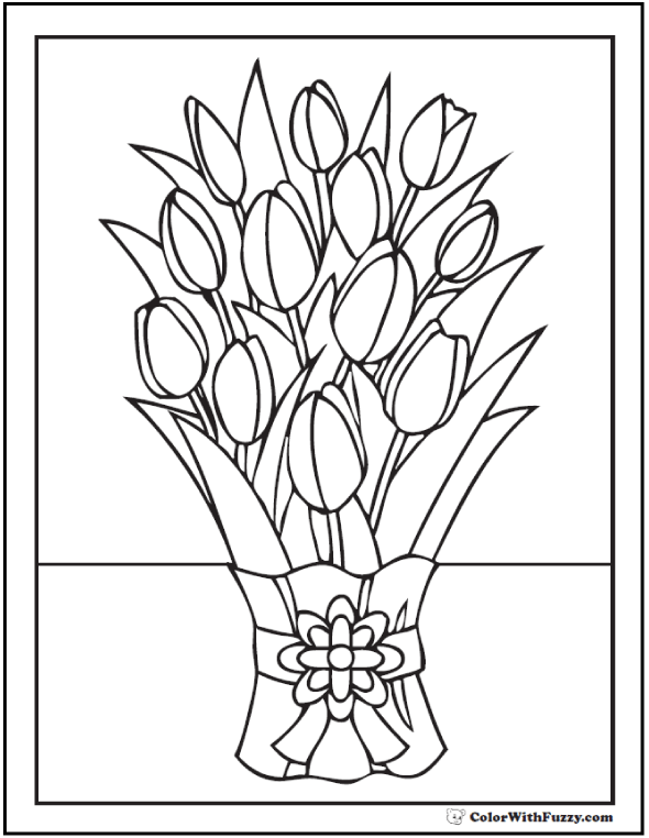 Beautiful Tulip Coloring Page - Bouquet of Tulips with Ribbon.