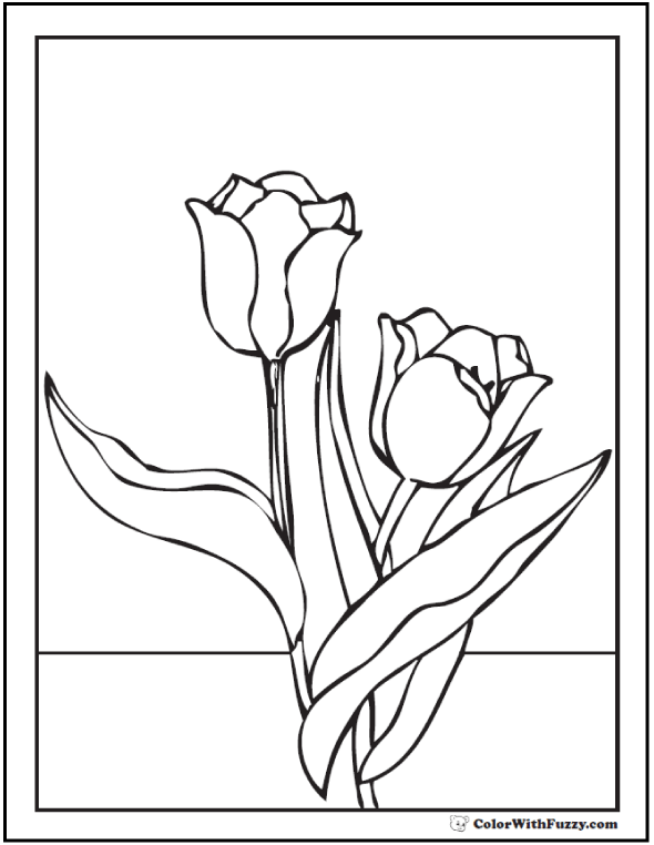 Windy Tulip Coloring Pages