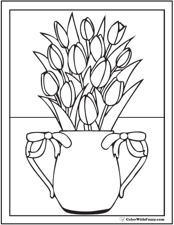 Vase And Tulip Coloring