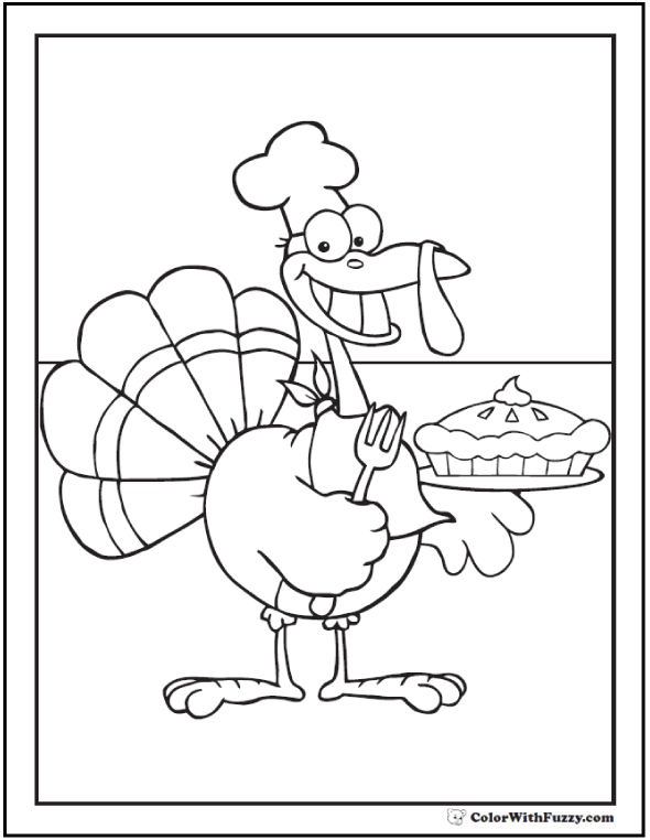 Turkey Coloring Sheet: Chef and pie disguise.