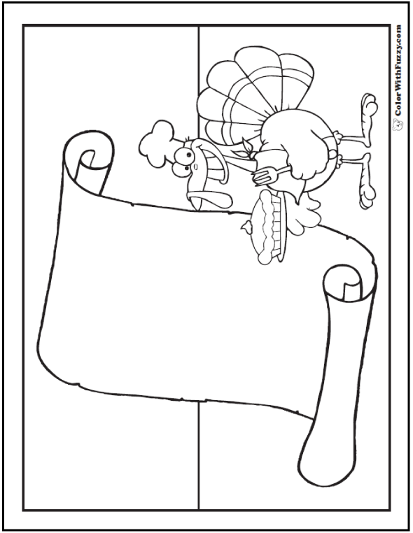 Turkey Coloring Sheet: Announcements, Invitations, Thanksgiving Cards.