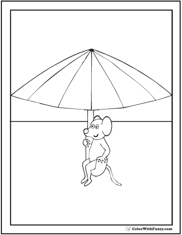Mouse sitting in an umbrella.