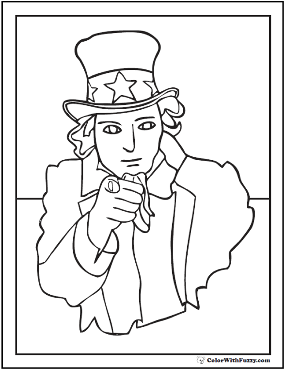 Uncle Sam Fourth of July coloring pages.