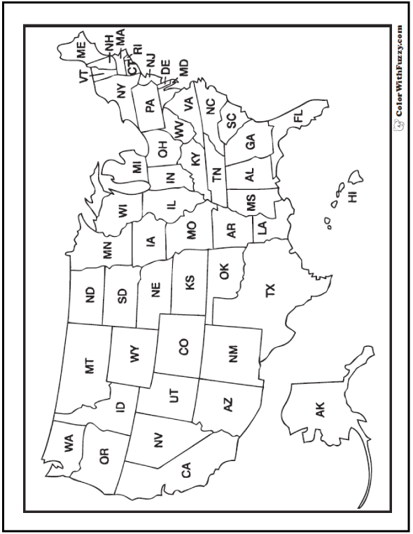Fourth of July coloring pages: Map of the United States.