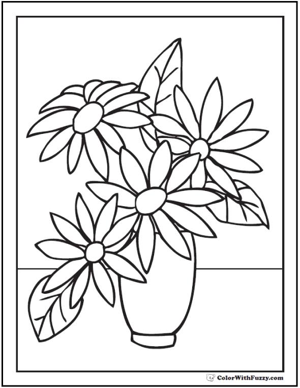 simple vase and flowers coloring pages - Simple Flower Coloring Pages