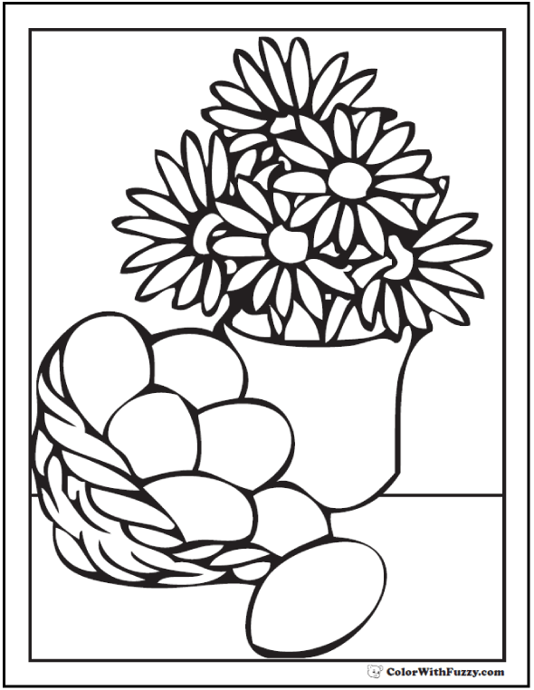 Daisies and Egg Basket - Vase of Flowers Coloring Page