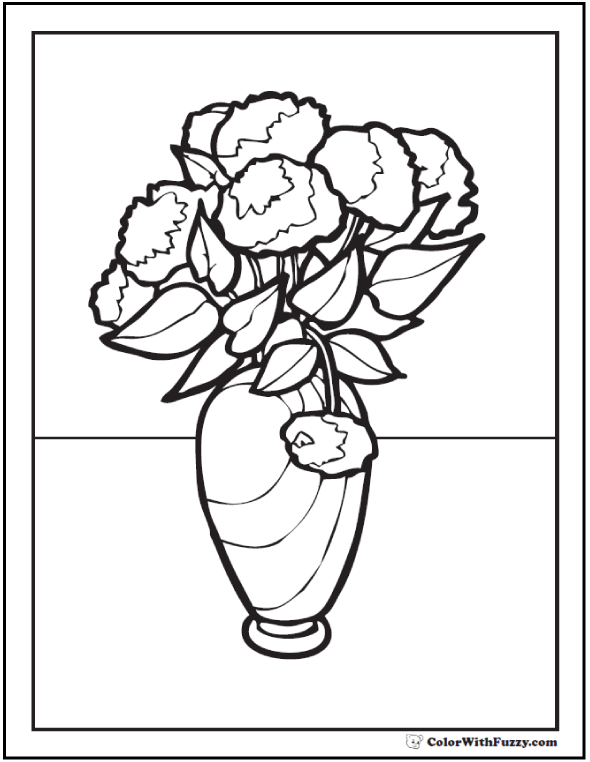 Great Carnations Or Mums Vase Of Flowers Coloring Pages