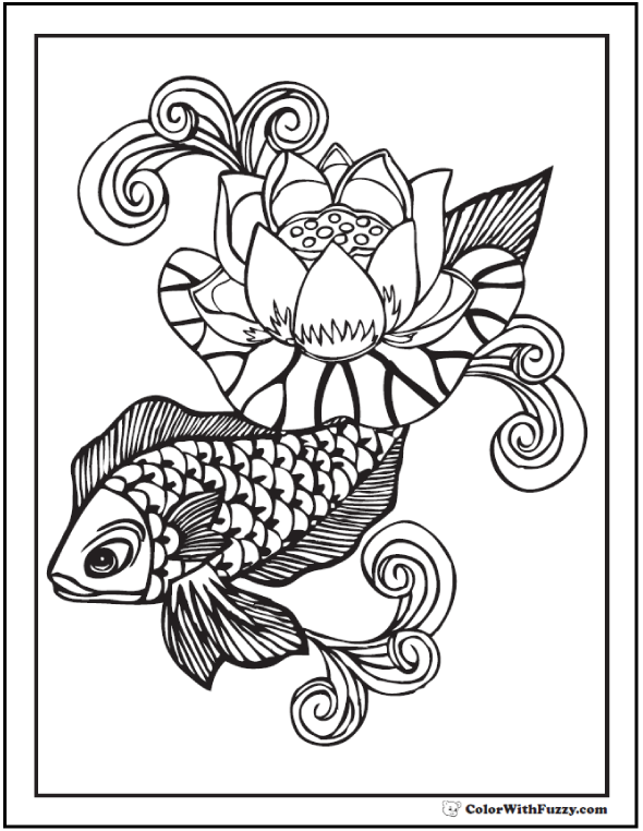 gldfish and water lily coloring picture