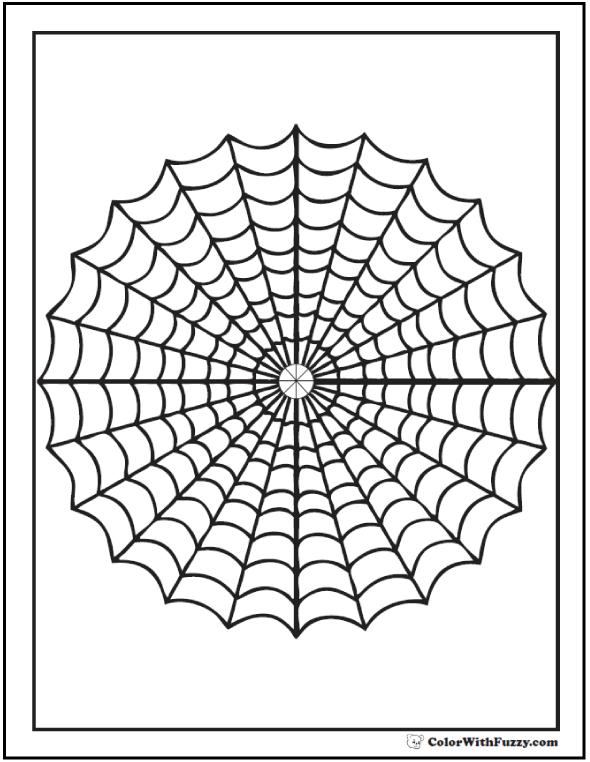 Geometric Web Coloring Page: Spider web with cross hair center.